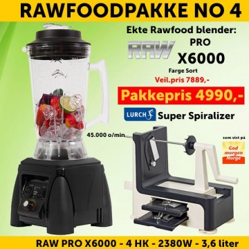 RAWFOODPAKKE 4: RAW Pro X6000 4.0 HK 3.6 l Sort  + Lurch Super Spiralizer FRI FRAKT!