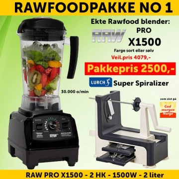 RAWFOODPAKKE 1: RAW Pro X1500 2.0 HK 2.0 l + Lurch Super Spiralizer