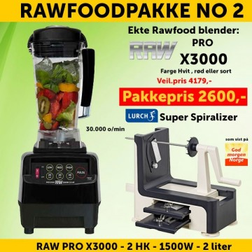 RAWFOODPAKKE 2: RAW Pro X3000 2.0 HK 2.0 l  + Lurch Super Spiralizer