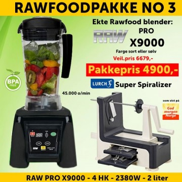 RAWFOODPAKKE 3: RAW Pro X9000 4.0 HK 2.0 l Sort + Lurch Super Spiralizer FRI FRAKT!